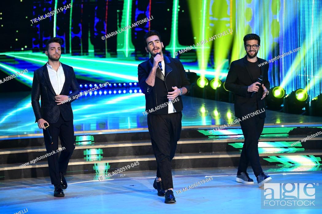 Imagen: Il Volo (Gianluca Ginoble, Ignazio Boschetto, Piero Barone) during the performance at the tv show Ballando con le stelle (Dancing with the stars) Rome.