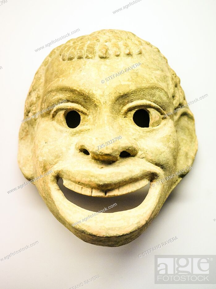 Stock Photo: Terracotta mask, probably intended to represent an african slave. made in Sicily about 350 BC.