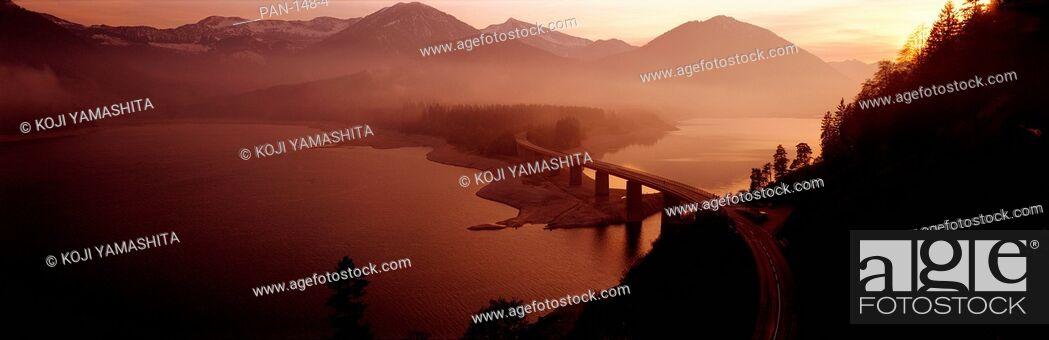 Stock Photo: Sylvenstein Lake with Bridge, Bavaria, Germany.