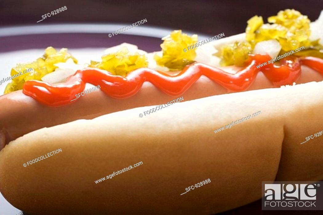 Stock Photo: Hot dog with relish, ketchup and onions.