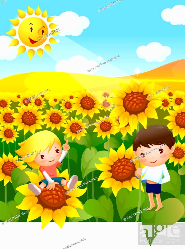 Stock Photo: Boy and a girl in a Sunflower field.