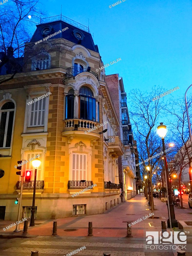 Stock Photo: Facade of building, night view. Jose Ortega y Gasset street, Madrid, Spain.
