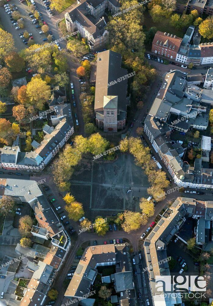 Stock Photo: Catholic Church of Saint Joseph, Dellviertel Quarter, Dellplatz Square, aerial view of Duisburg, Ruhr area.