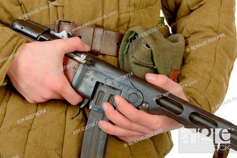 Stock Photo: close-up on the machine gun PPSH-41.