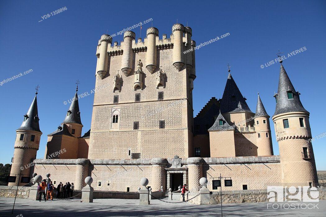 Stock Photo: Panoramic View of the Alcazar de Segovia, Spain.