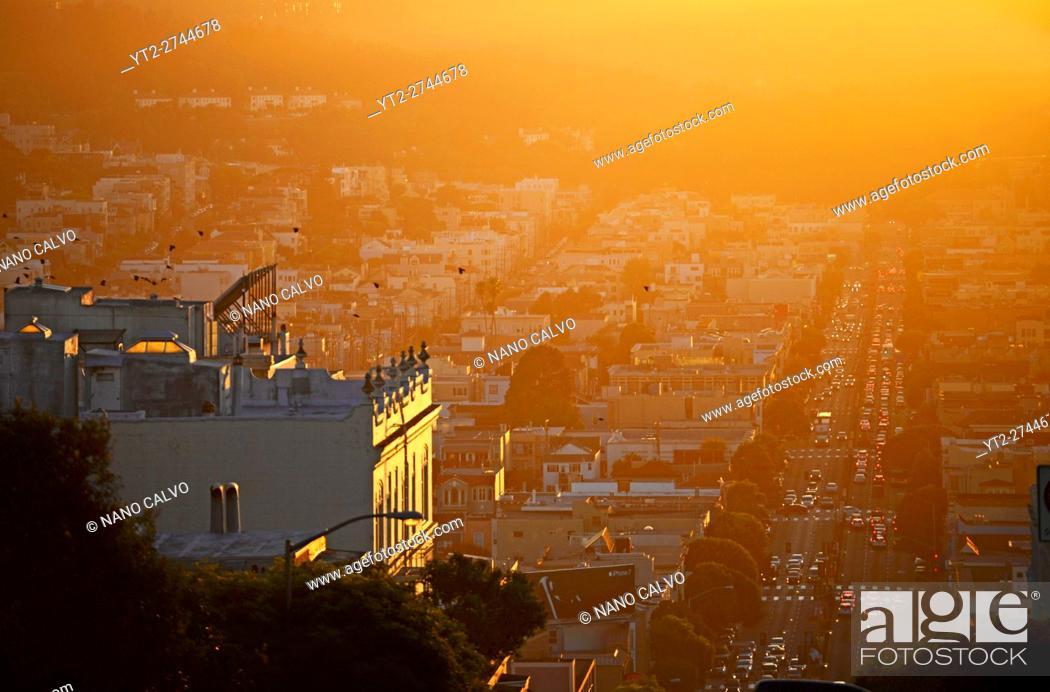Stock Photo: View of San Francisco at sunset.