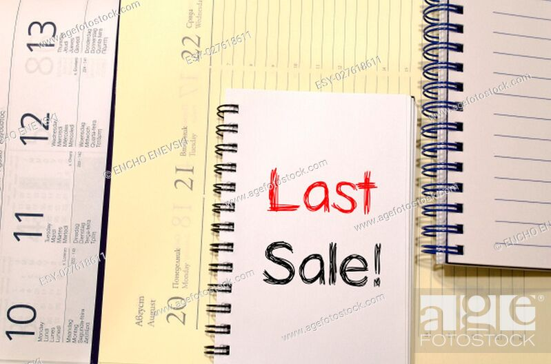 Stock Photo: Last sale text concept write on notebook.