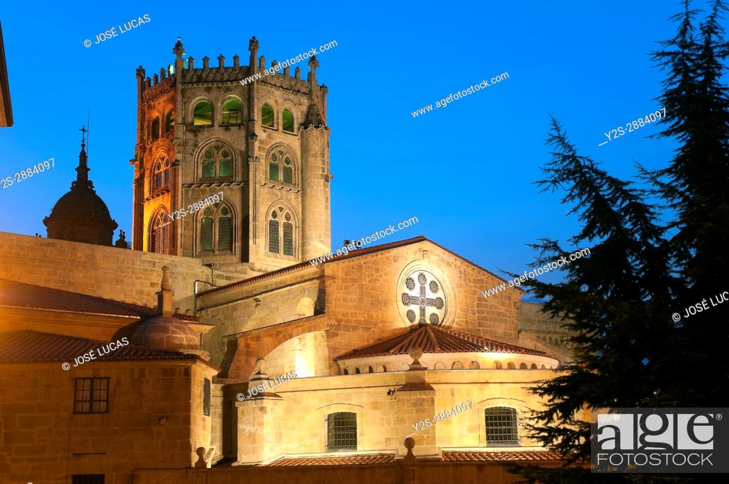 Stock Photo: Gothic Cathedral of San Martin de Tours - 12th century, Orense, Region of Galicia, Spain, Europe.