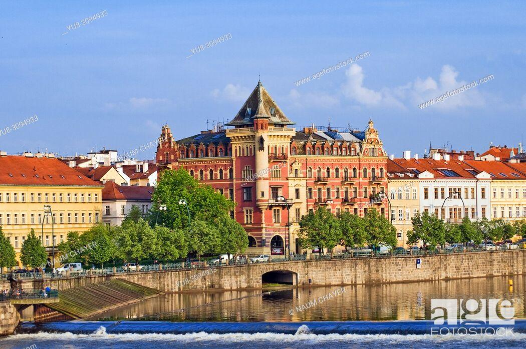 Stock Photo: Beautiful view of Prague, and Vlltava river from Charles bridge, Czech Republic, East Europe.