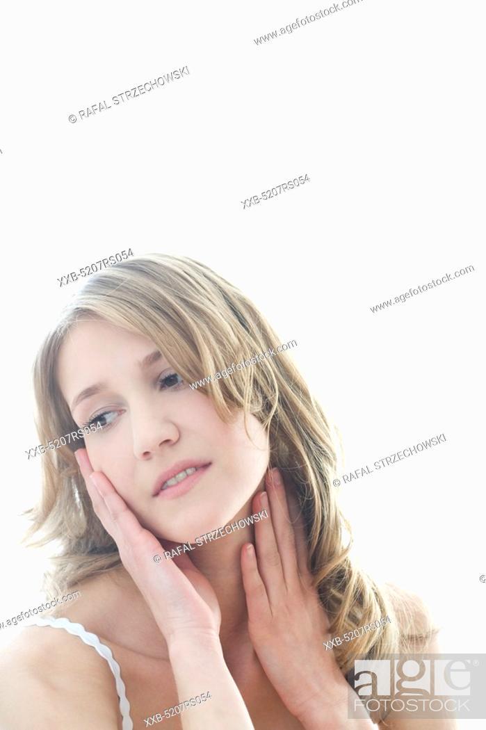 Stock Photo: woman with headache.