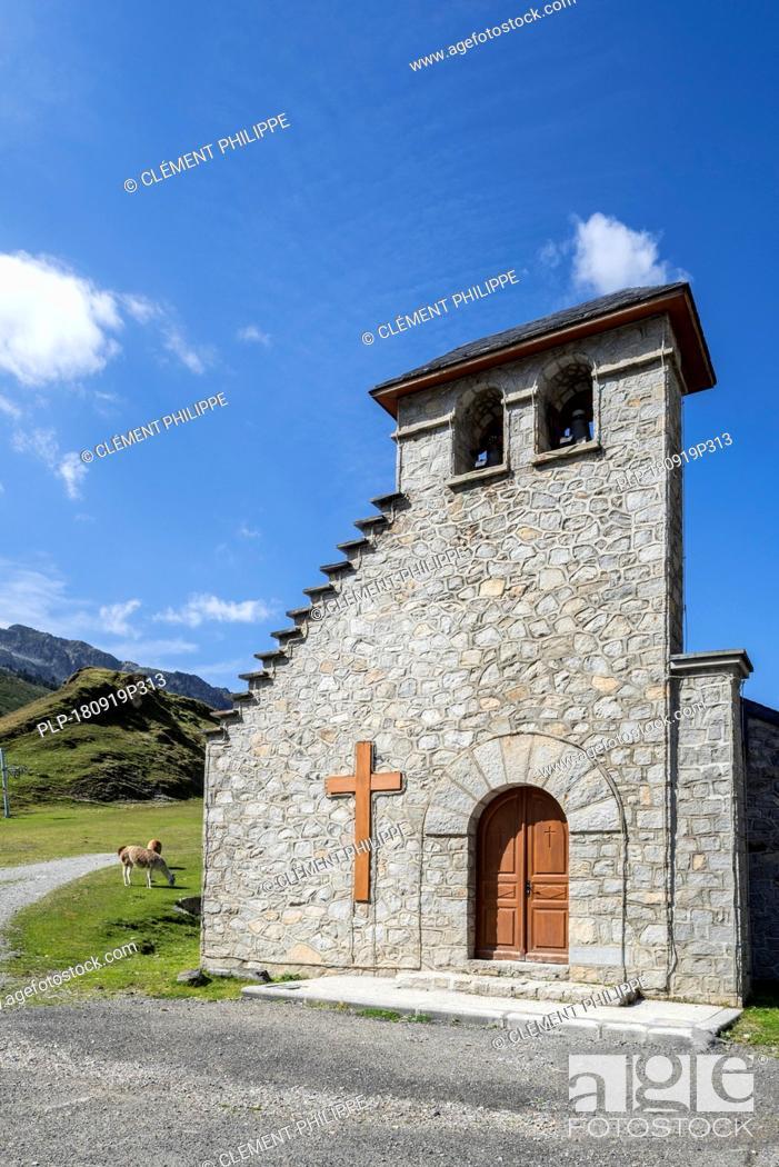 Stock Photo: Chapelle Notre-Dame de La Mongie / Chapelle Notre-Dame-des-Neiges, chapel in the village La Mongie, winter ski resort in Campan, Hautes-Pyrénées, France.