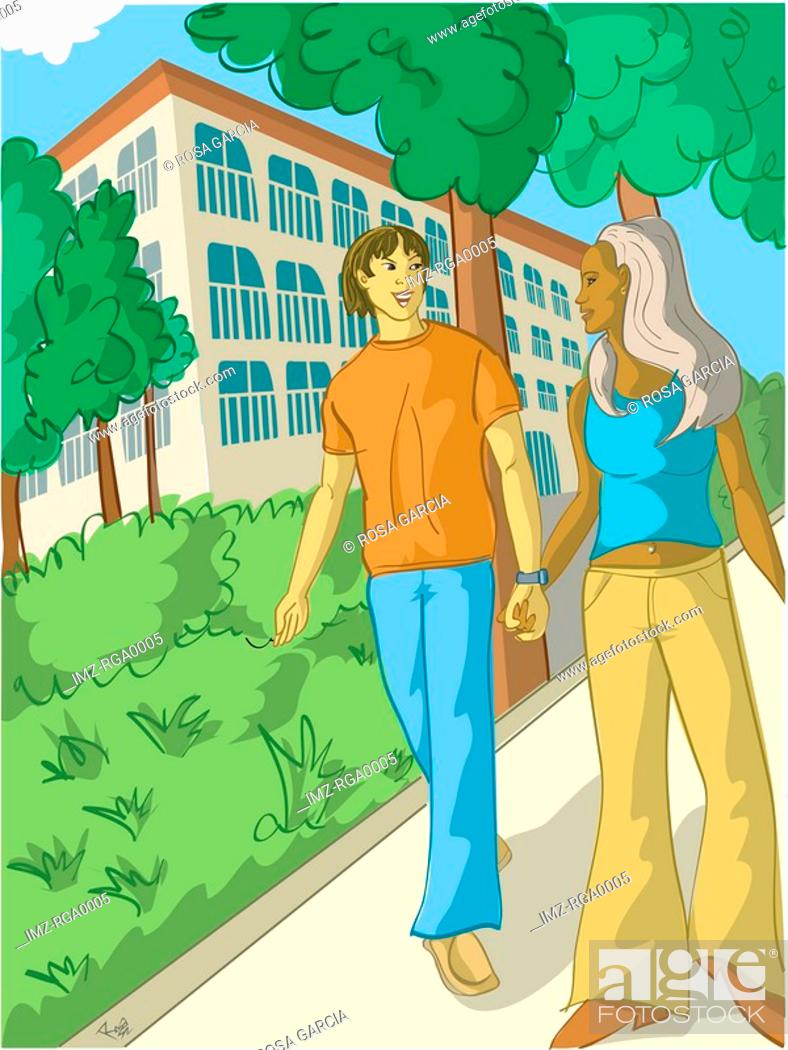 Stock Photo: A couple walking hand in hand in a park.