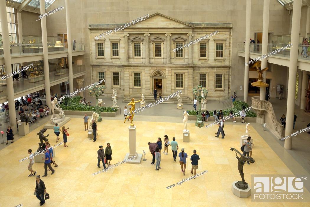 Stock Photo: Courtyard of the American Wing, Metropolitan Museum of Art, Manhattan, New York City, USA, North America.