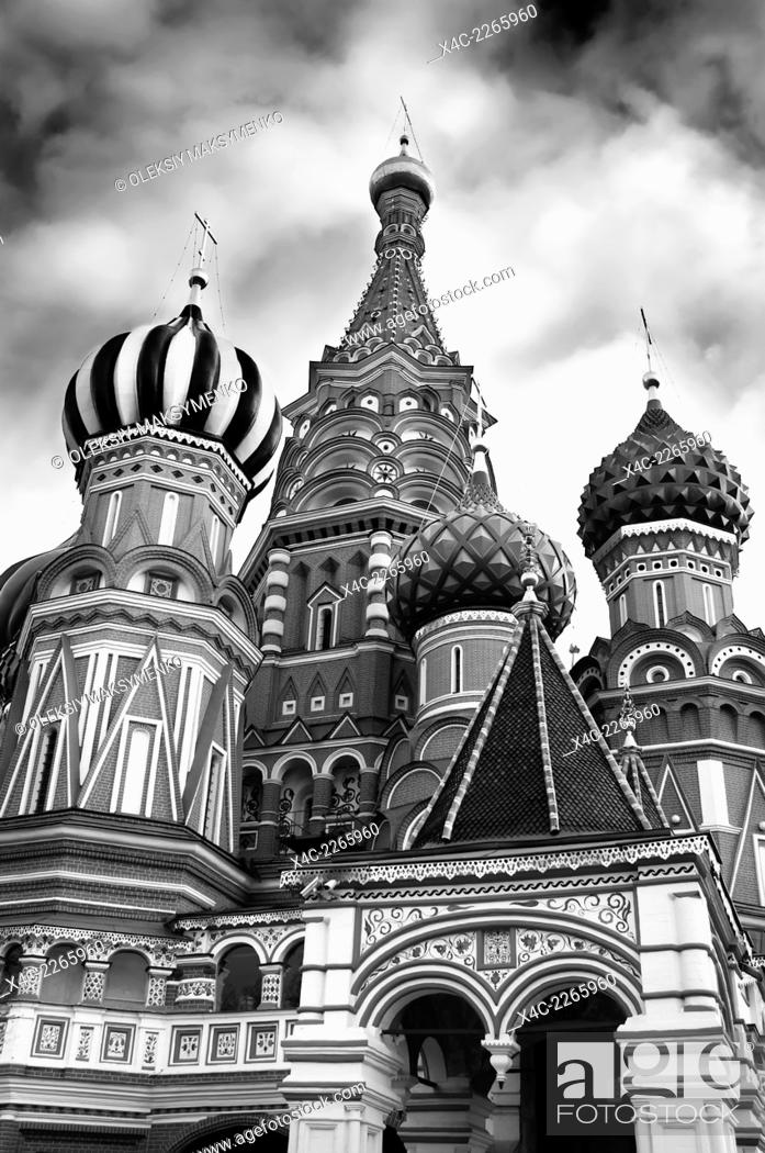 Stock Photo: Saint Basil's cathedral colorful domes at The Red square in Moscow, Russia. The Cathedral of the Protection of Most Holy Theotokos on the Moat.