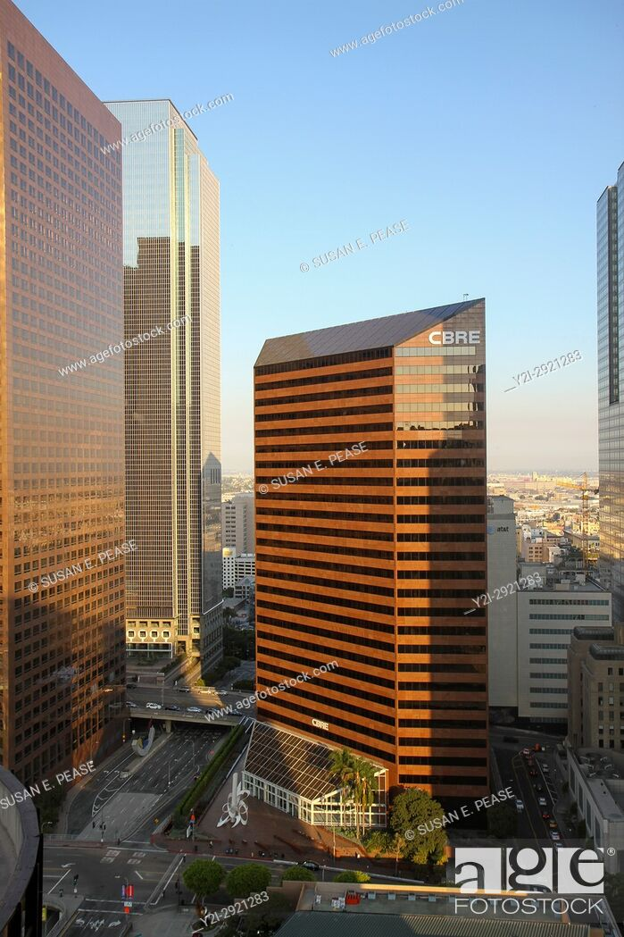 Stock Photo: A view from the BonaVista Lounge in the Westin Bonaventure Hotel, Downtown Los Angeles, California, United States.