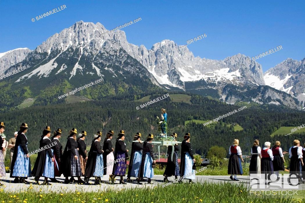 Stock Photo: Corpus Christi Procession in Ellmau at the Wilden Kaiser near Scheffau Tyrol Austria.