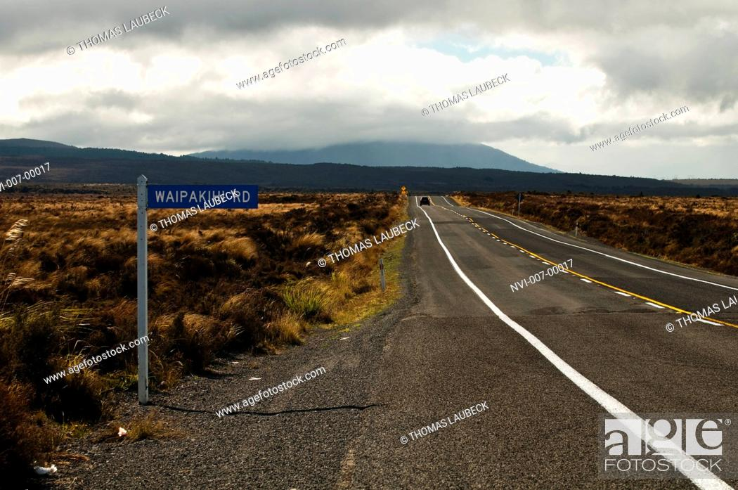 Stock Photo: Street sign on State Highway 1 in the Rangipo Desert, south of Lake Taupo, New Zealand.