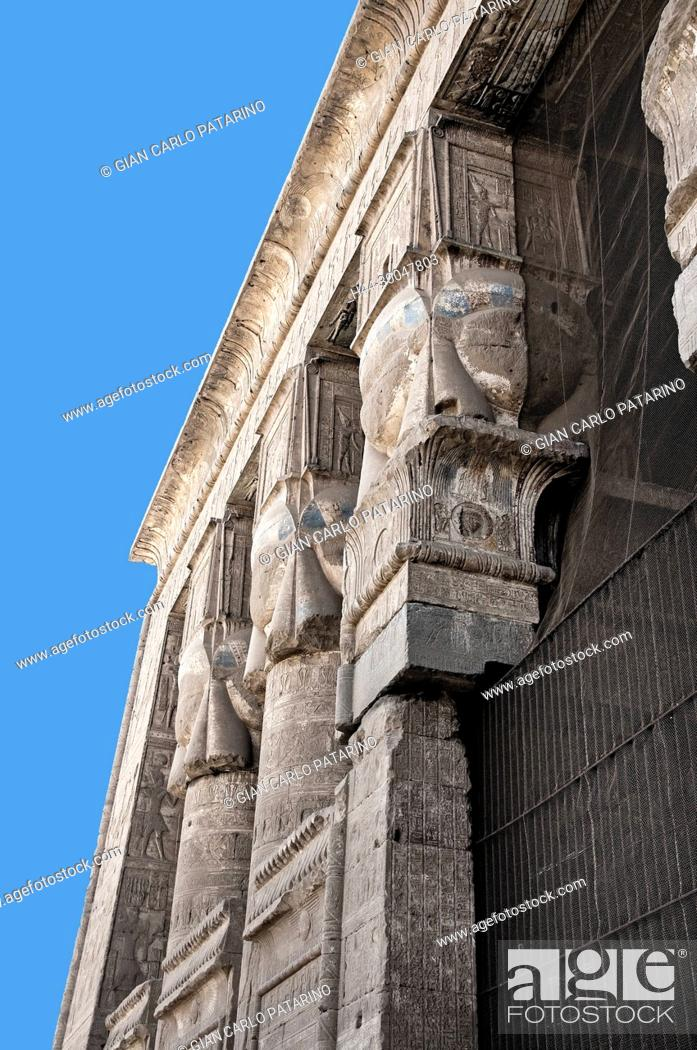 Stock Photo: Dendera Egypt, ptolemaic temple dedicated to the goddess Hathor: hathoric columns.