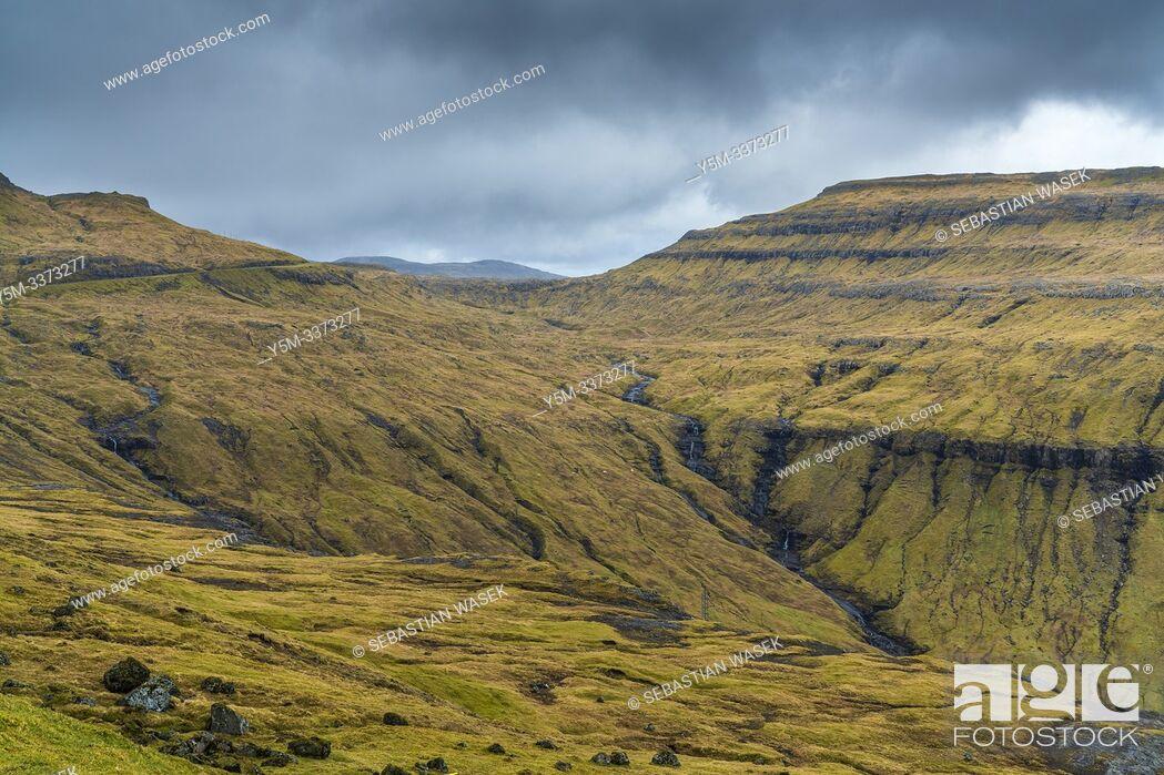 Stock Photo: Kaldbaksfjørður, Streymoy, Faroe Islands, Denmark, Europe.