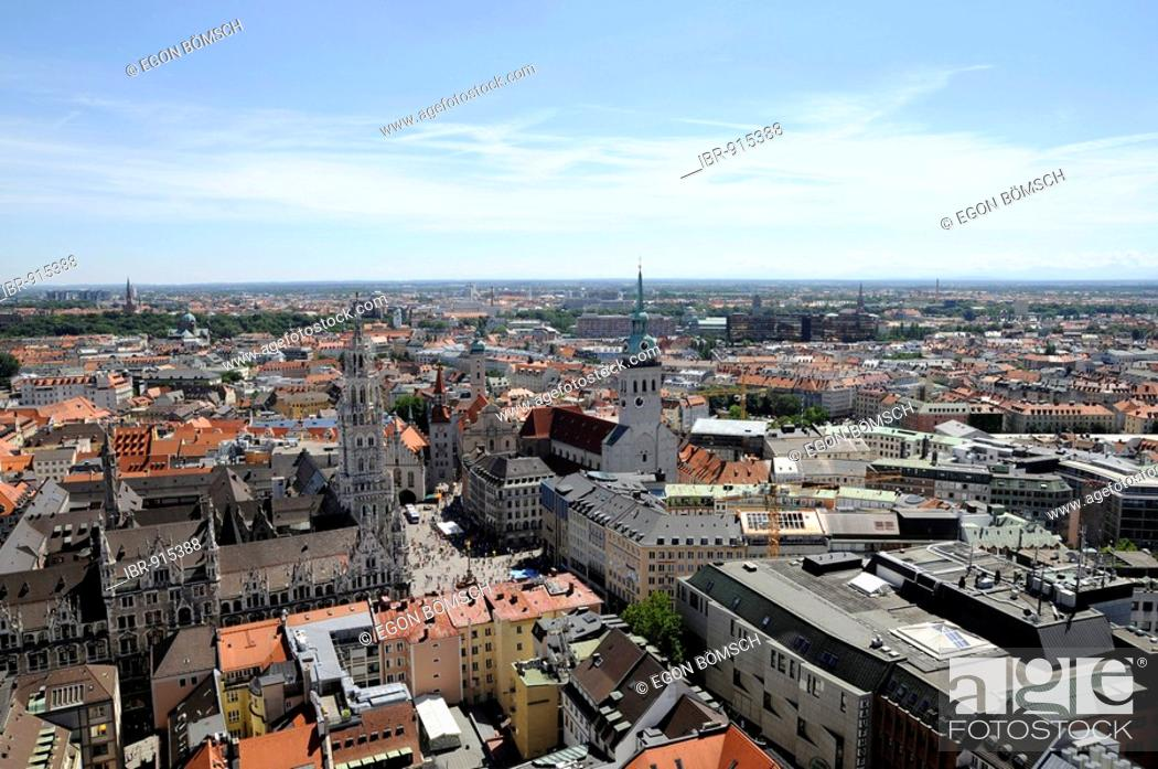 Stock Photo: View from the tower of the Frauenkirche Church, in the direction of the townhall, Munich, Bavaria, Germany, Europe.