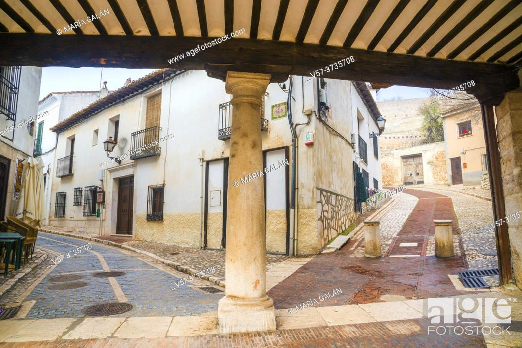 Stock Photo: Two streets from the Main Square. Chinchon, Madrid province, Spain.