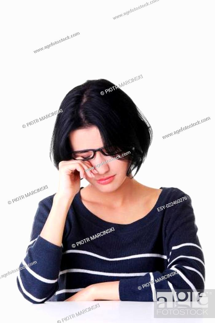 Stock Photo: Young sad woman, have big problem or depression.