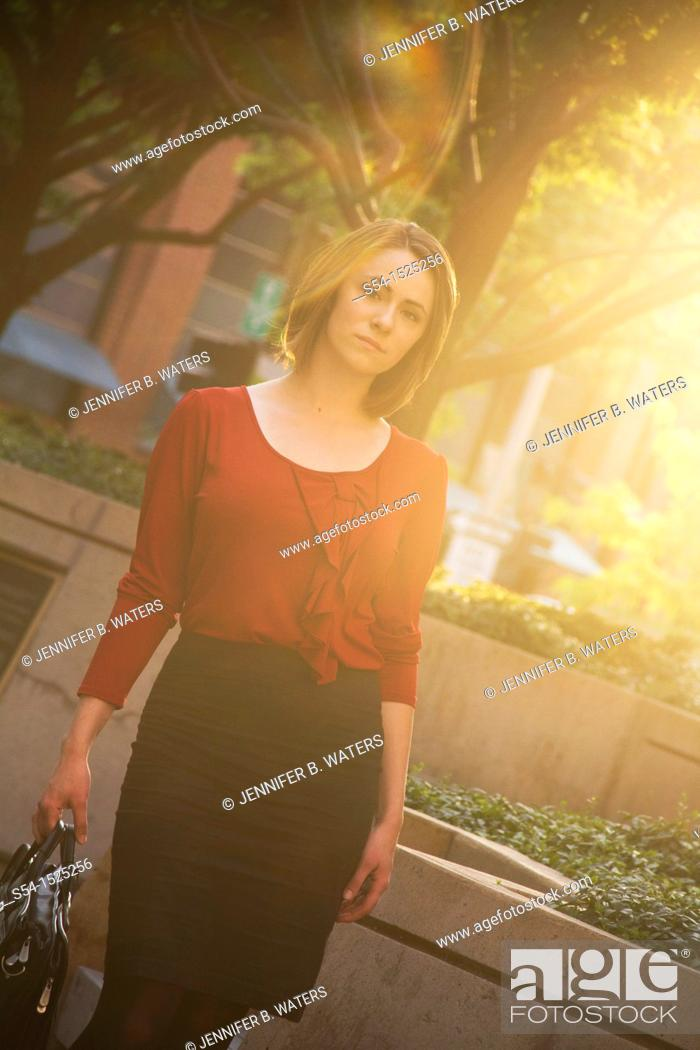 Stock Photo: Young businesswoman of Russain descent in Spokane, Washington, USA.