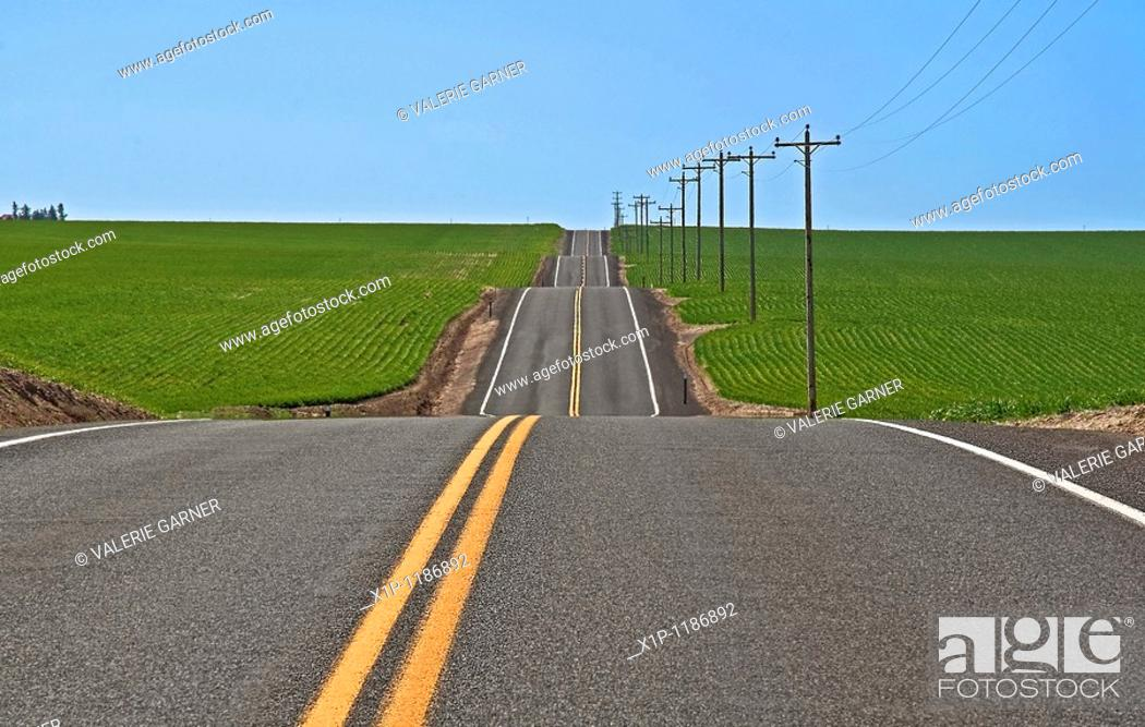 Stock Photo: This rural photo is full on conceptual ideas, it's s long stretch of empty highway with dips, ups and downs running through green farmland and clear blue sky.