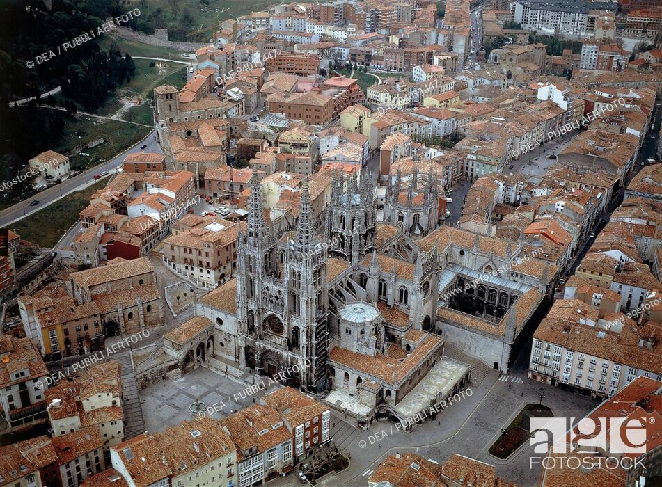 Stock Photo: Aerial view of Saint Mary Cathedral (UNESCO World Heritage List, 1984) in Burgos - Castilla y Leon, Spain.