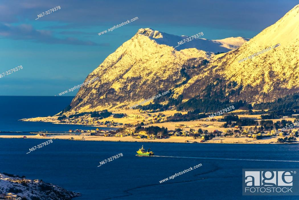 Stock Photo: Nearby islands in the archipelago surrounding Alesund, on the west coast of Norway.