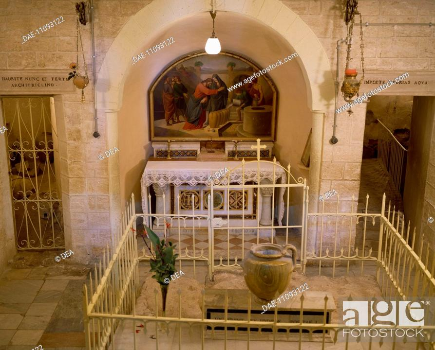 view of the crypt in the latin church dedicated to the miracle of