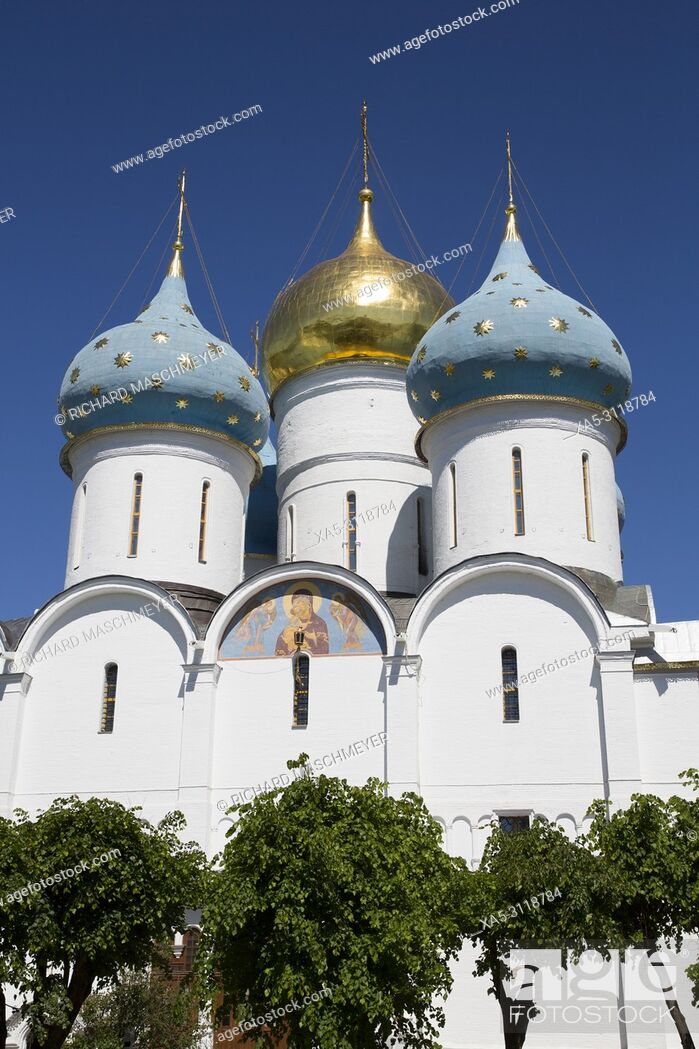 Stock Photo: Holy Dormition Cathedral, The Holy Trinity Saint Serguis Lavra, UNESCO World Heritage Site, Sergiev Posad, Golden Ring, Russia.