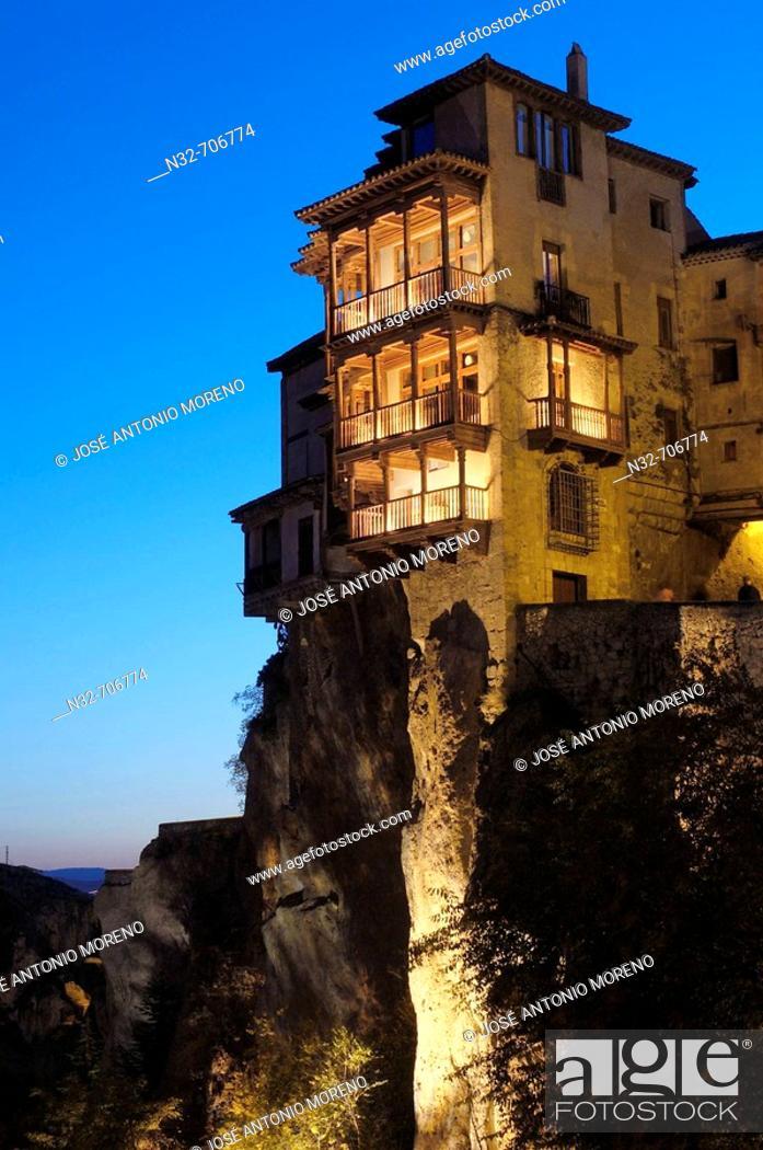 Stock Photo: The Hanging Houses at dusk. Cuenca (World Heritage). Castilla-La Mancha. Spain.