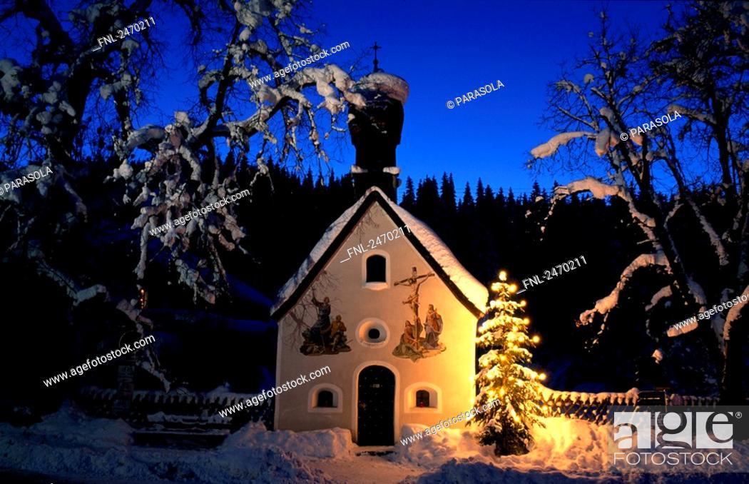 Stock Photo: Facade of church, Werdenfelser Land, Upper Bavaria, Klais, Bavaria, Germany.