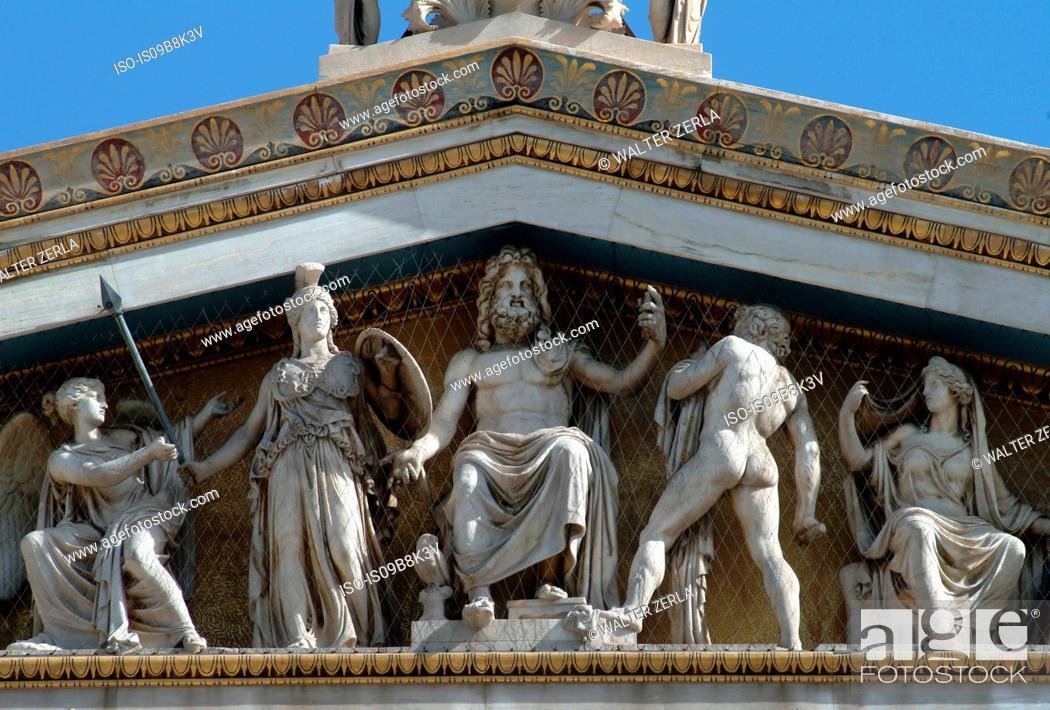 Stock Photo: Carved statues on pediment, Academy of Athens, Athens, Attiki, Greece, Europe.