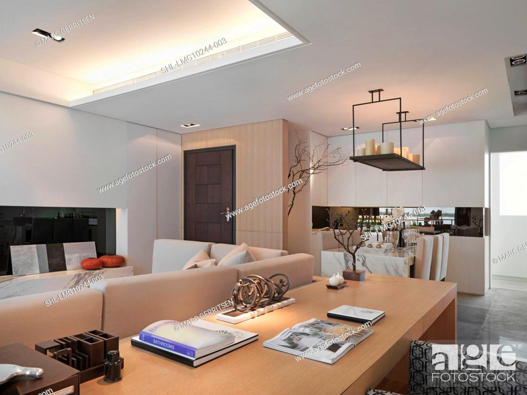 Modern living room with recessed lights, Stock Photo ...