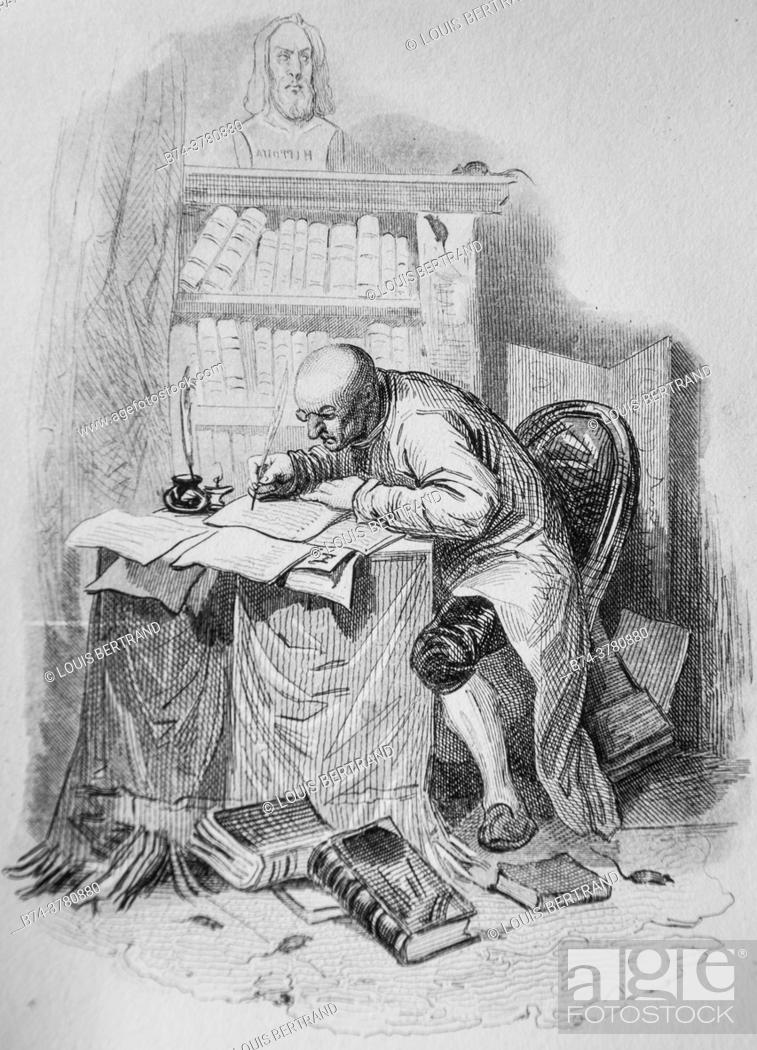 Photo de stock: the author and the mice, florian fables illustrated by victor adam, publisher delloye, desme 1838.