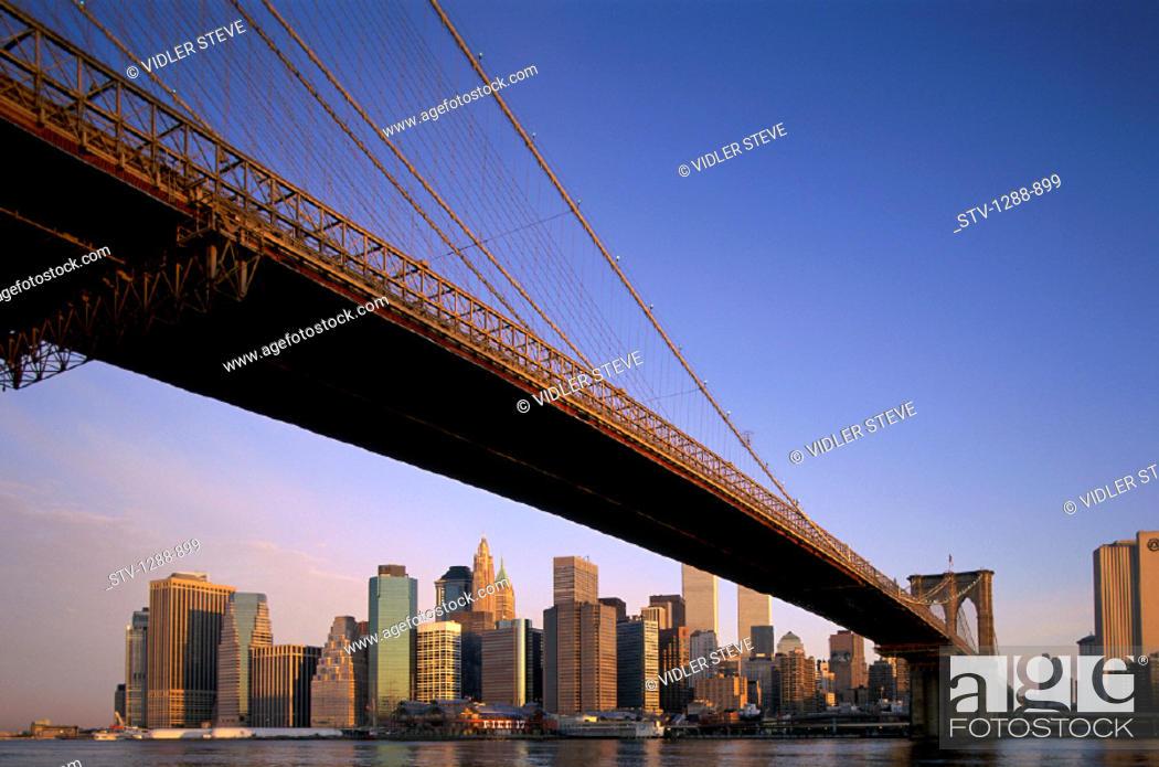 Stock Photo: America, Bridge, City, Holiday, Landmark, New york, New york city, Skyline, Skyscrapers, Sunrise, Tourism, Travel, United states.