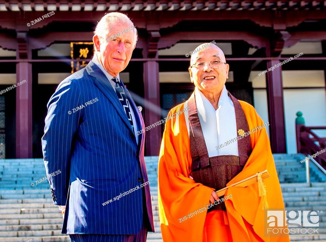 Stock Photo: October 23, 2019, Tokyo, Japan: Prince Charles, Prince of Wales visits Zojoji Temple in Tokyo, Japan. (Credit Image: © via ZUMA Press).