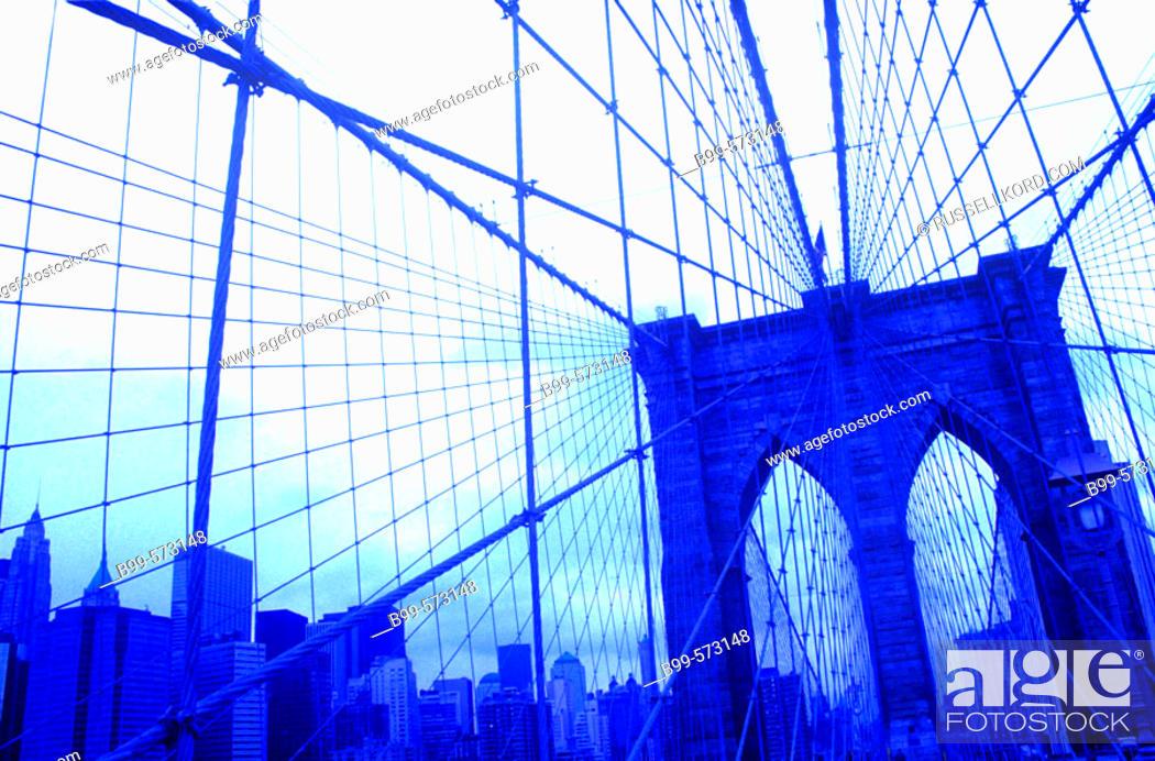 Stock Photo: Brooklyn Bridge, East River, Downtown, Manhattan, New York, USA.
