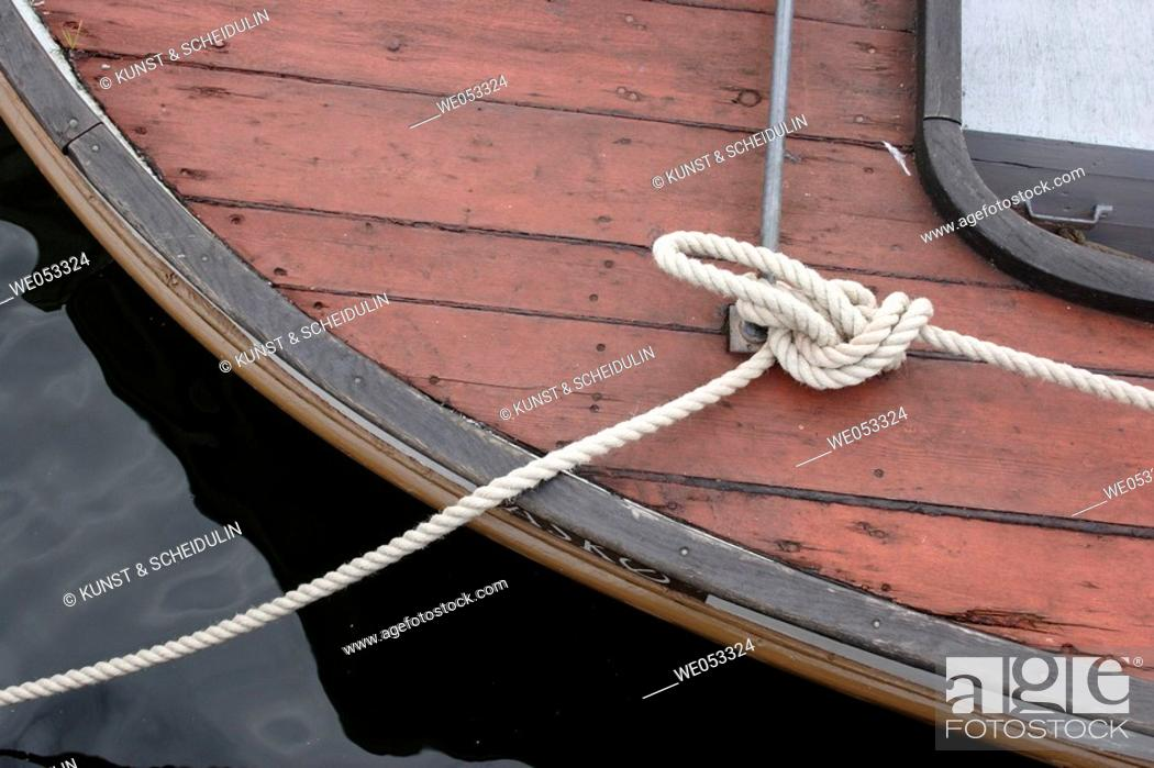 Stock Photo: Ropes on a replica viking-ship, Viking-ship museum, Roskilde, Denmark, Scandinavia, Europe.