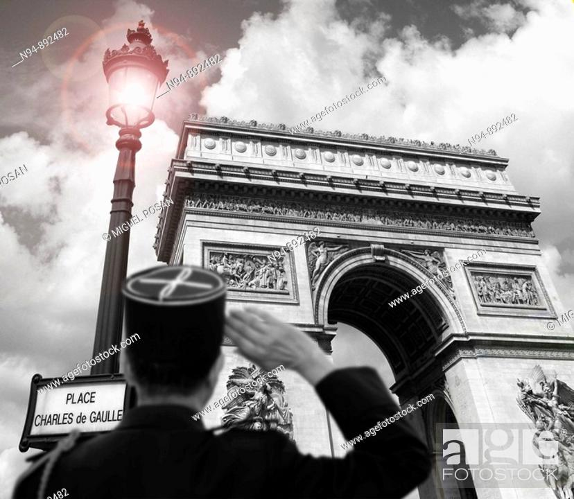 Imagen: Greeting and homage to the Arc de Triomphe, Paris. France.