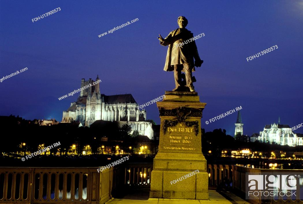 Stock Photo: Auxerre, Burgundy, France, Yonne, Bourgogne, Europe, wine region, Statue of Paul Bert along the Yonne River in the city of Auxerre. Cathedral St.