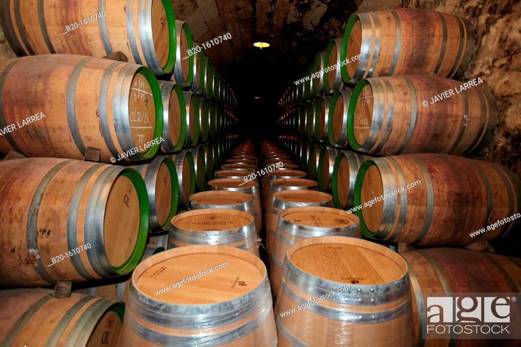Stock Photo: Reserve wine barrels, Marques de Riscal winery, Elciego, Rioja Alavesa, Alava, Basque Country, Spain.