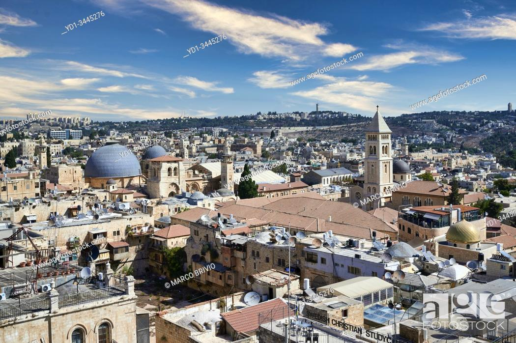 Stock Photo: Jerusalem Israel. Scenic lookout on the old city.