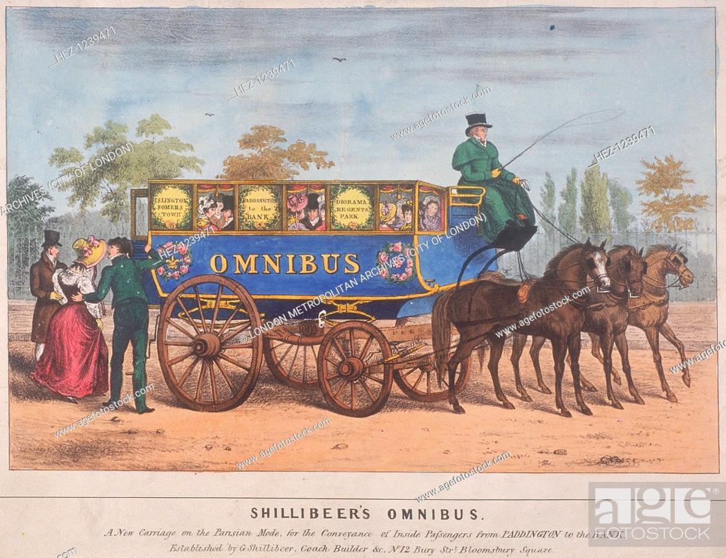 Stock Photo: View of passengers using Shillibeer's omnibus, London, 1829. The omnibus ran from Paddington to Bank.