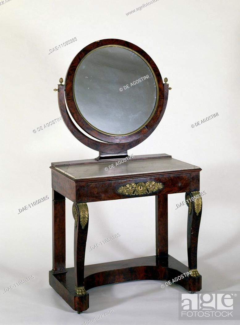 Stock Photo Empire Style Mahogany Dressing Table With Mirror France 19th Century