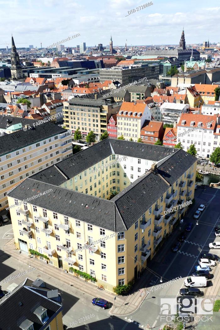Stock Photo: COPENHAGEN, DENMARK Views from Our Saviour's Church in Christianhavn.