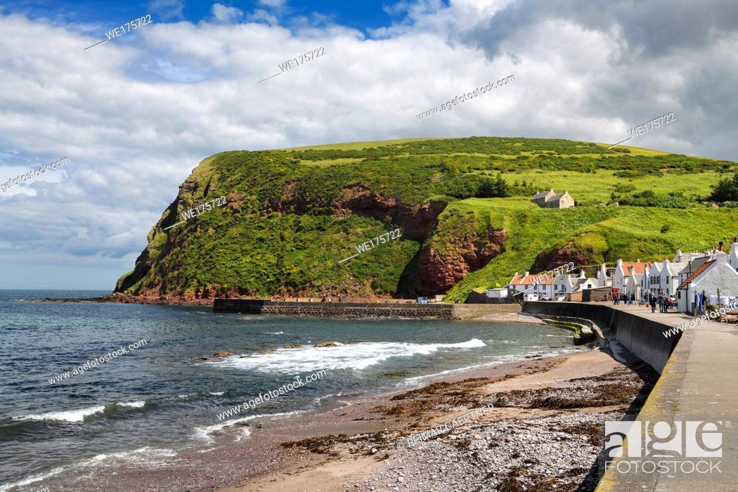 Stock Photo: Shore of Pennan coastal fishing village in Aberdeenshire Scotland UK featured in film Local Hero.