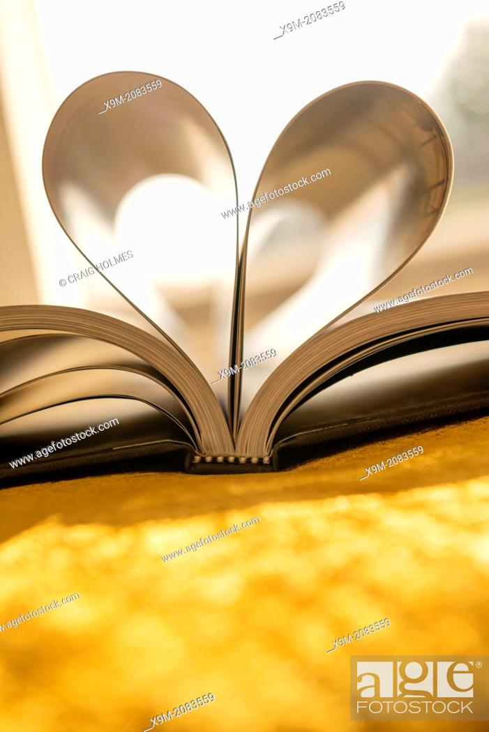 Stock Photo: Pages of a book shaped like a heart.